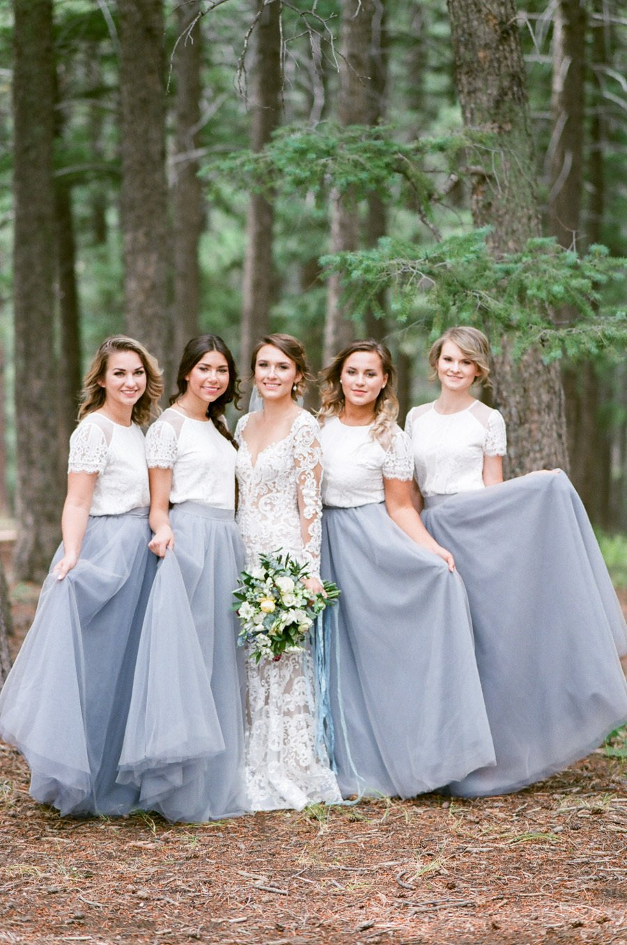 Lace Short Sleeves Tulle Long Wedding Party Dresses Cheap Charming Bridesmaid Dresses, WG387