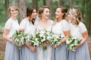 Lace Short Sleeves Tulle Long Wedding Party Dresses Cheap Charming Bridesmaid Dresses, WG387 - Prom Muse