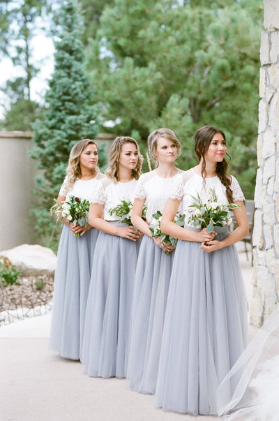 2017 Lace Short Sleeves Tulle Long Wedding Party Dresses Cheap Charming Bridesmaid Dresses, WG387