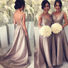 Simple V-Neck Cheap Elegant Long Bridesmaid Wedding Party Dresses, WG397
