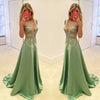 Green Deep V Neck Applique Formal Long Lace Prom Dresses, PM0039
