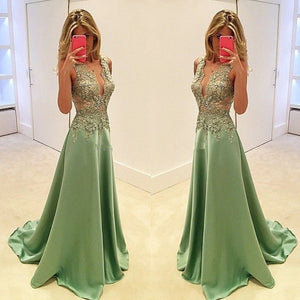 Green Deep V Neck Applique Formal Long Lace Prom Dresses, PM0039 - Prom Muse