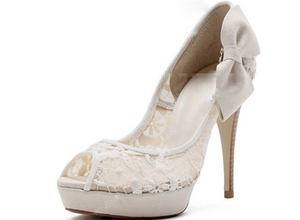 Ivory Lace High Heels Fish Toe Sexy Wedding Bridal Shoes, S012 - Prom Muse
