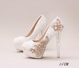 Handmade High Heels Round Toe Pearls Crystal Wedding Shoes, S0038 - Prom Muse