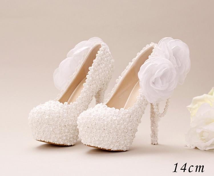 Pointed Toe Lace Pearls Wedding Shoes With Handmade Flowers, S033 - Prom Muse