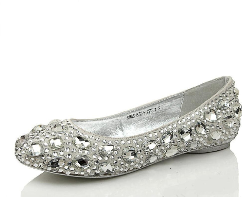 Delicate Crystal Flat Pointed Toe Rhinestone Wedding Bridal Shoes, S005 - Prom Muse