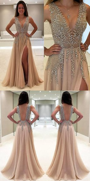 Beaded Deep V Neck Side Split Evening Long Prom Dresses, PM1004 - Prom Muse
