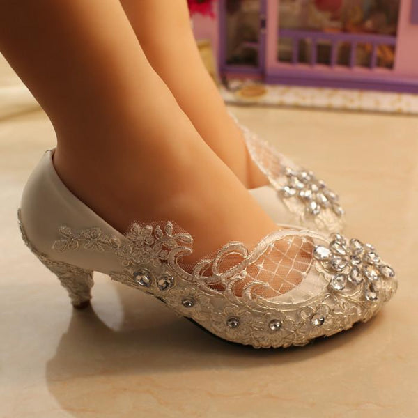 Handmade Middle Heels Pointed Toe Lace Crystal Wedding Bridal Shoes, S007 - Prom Muse