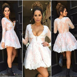 Long Sleeves Lace Short Cheap Homecoming Dresses, PM0402 - Prom Muse