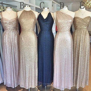 Popular Mismatched Cheap Long Sequin Bridesmaid Dresses, WG404 - Prom Muse