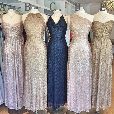 Popular Mismatched Cheap Long Sequin Bridesmaid Dresses, WG404