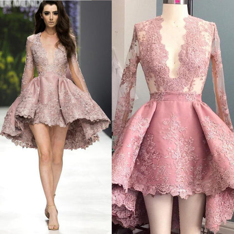 Deep V Neck Lace Long Sleeves Sexy Homecoming Dresses, PM0404