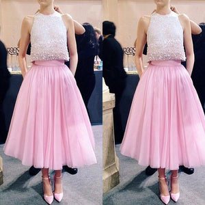 2 Pieces Pink Beaded Top Junior Lovely Homecoming Dresses, PM0405 - Prom Muse
