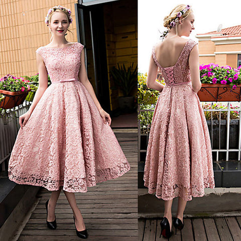 Pink Lace Up Teenage Lace Up Back Cheap Homecoming Dresses, PM0406