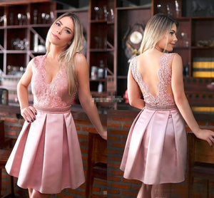 Pink Seen Through Back Cute Cocktail Homecoming Dresses, PM0407 - Prom Muse