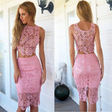 Two Pieces Lace Lovely Short Homecoming Dresses, PM0409