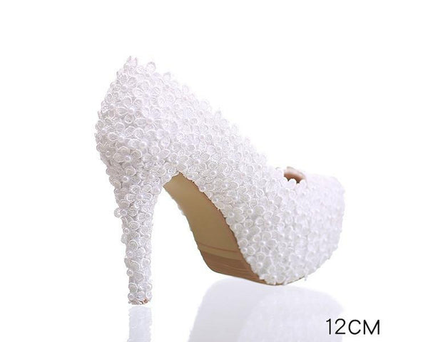 Pearls Lace Pointed Toe White High Heels Wedding Bridal Shoes, S016 - Prom Muse