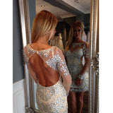Sparkle Backless Long Sleeves Homecoming Dresses, PM0410
