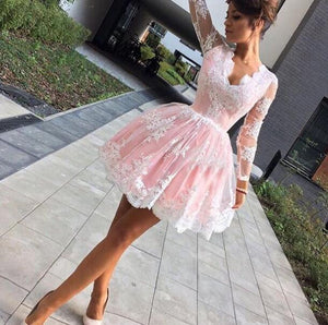 Lovely Long Sleeves Lace Short Cheap Homecoming Dresses, PM0414 - Prom Muse