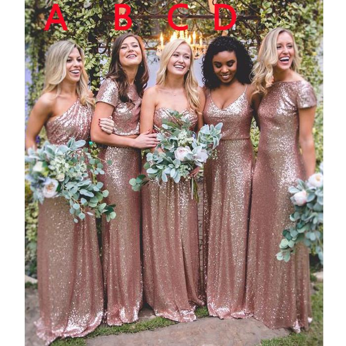 Rose Gold Sequin Mismatched Long Wedding Bridesmaid Dresses, WG415