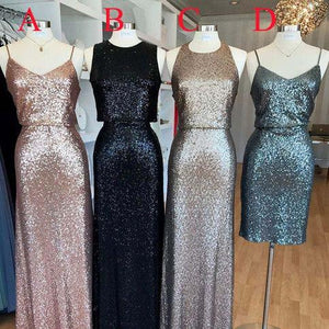 Popular Mismatched Cheap Long/Short Sequin Bridesmaid Dresses, WG418 - Prom Muse