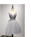 Silver V Neck Junior Cheap Knee Length Beaded Homecoming Dresses, PM0419