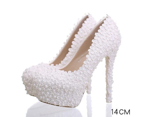Pearls Lace Pointed Toe White High Heels Wedding Bridal Shoes S016