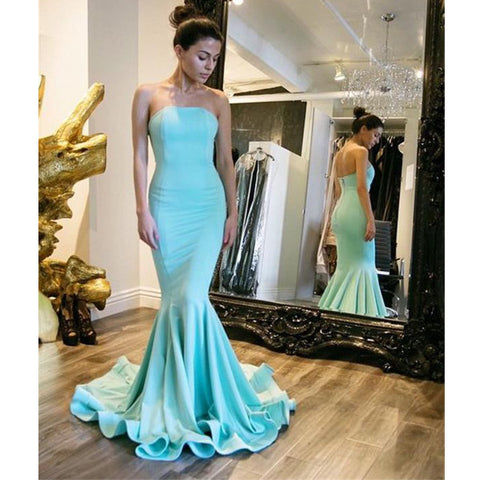 Blue Mermaid Elegant Strapless Cheap Long Prom Dresses, PM0041
