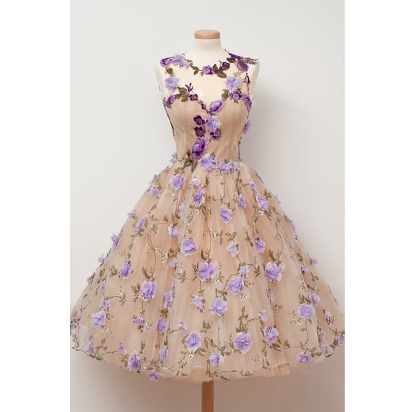 Charming Hadmade Flowers Pretty Teenagers Short Homecoming Dresses, PM0421 - Prom Muse