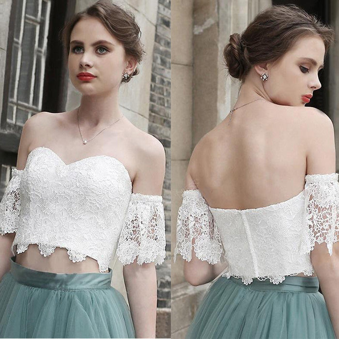 2 Pieces Off the Shoulder Sweetheart Lace Lovely Homecoming Dresses, PM0427