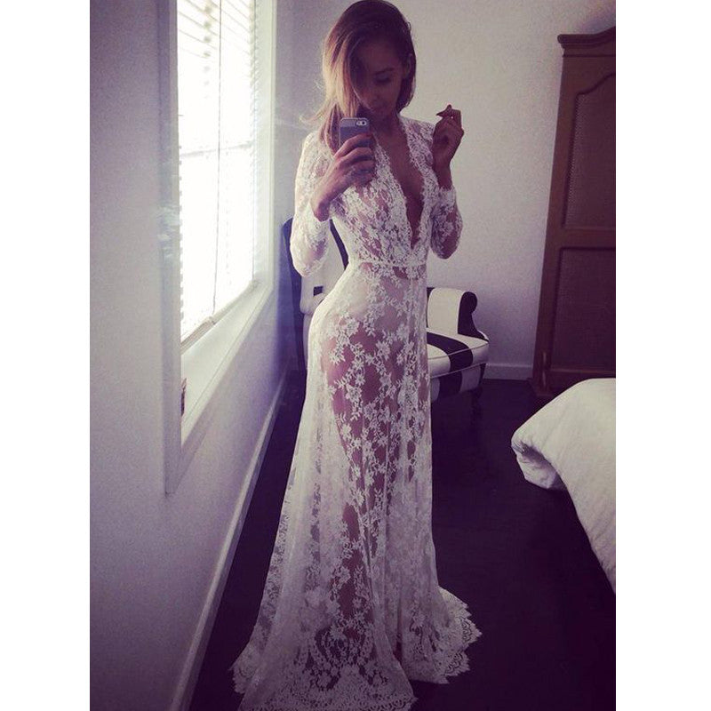 Deep V Neck Seen Through Long Sleeves White Lace Long Prom Dresses, PM0042 - Prom Muse