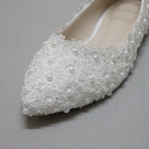 Pregnant Flat Heels Pearls Lace Pointed Toe White Wedding Bridal Shoes, S017 - Prom Muse