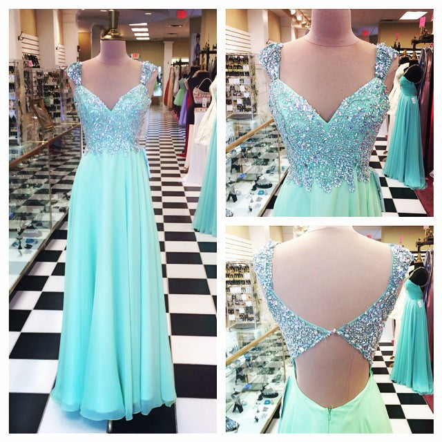 Beaded Top Open Back Formal A Line Long Prom Dresses, PM0043 - Prom Muse