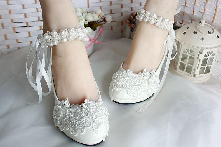 129877e09 Lace Pearls Pointed Toes Women Wedding Shoes With Ribbons Lace Up, S018 -  Prom Muse