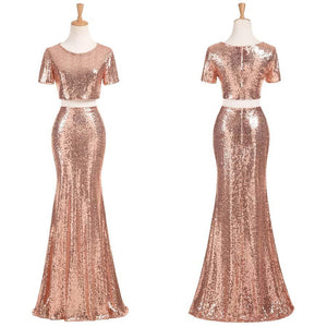 2 Pieces Short Sleeves Mermaid Sequin Cheap Long Bridesmaid Dresses, WG446