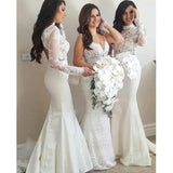 2 Pieces Long Sleeves Lace Sexy Mermaid Long Wedding Bridesmaid Dresses, WG449 - Prom Muse