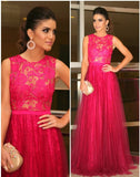 Hot Pink Lace Tulle Formal Round Neck Long Prom Dresses, PM0045