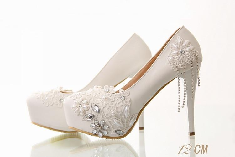Lace Pearls Women Wedding Bridal Shoes With Pointed Toes, S019 - Prom Muse
