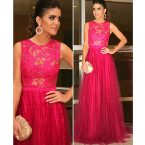 Hot Pink Lace Tulle Formal Round Neck Long Prom Dresses, PM0045 - Prom Muse