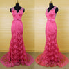 V Neck Applique Hot Pink Mermaid Lace Long Prom Dresses, PM0047