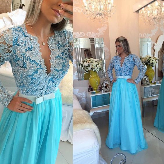 Blue Long Sleeves Deep V Neck Lace Long Prom Dresses, PM0048 - Prom Muse