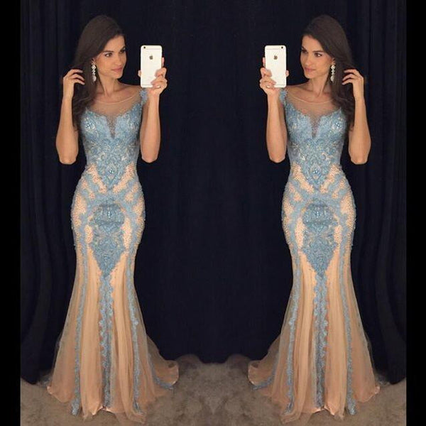 Sexy Blue Applique Backless Mermaid Lace Long Prom Dresses, PM0049