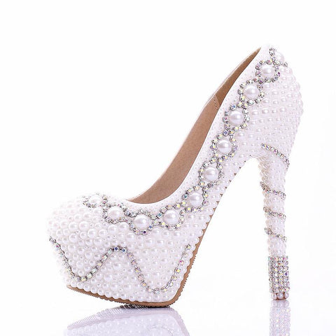 Fashion Handmade High Heels Round Toe Pearls Crystal Wedding Shoes S0039
