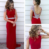 Red Beaded Cap Sleeve Teenage Long Prom Dress, PM0004 - Prom Muse