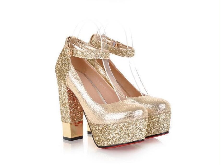 Fashion High Heels Round Pointed Toe Sequin Wedding Bridal Shoes, S035 - Prom Muse