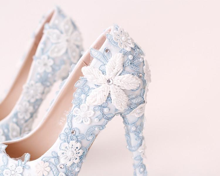 Handmade High Heels Round Toe Blue Lace Crystal Wedding Shoes, S0040 - Prom Muse