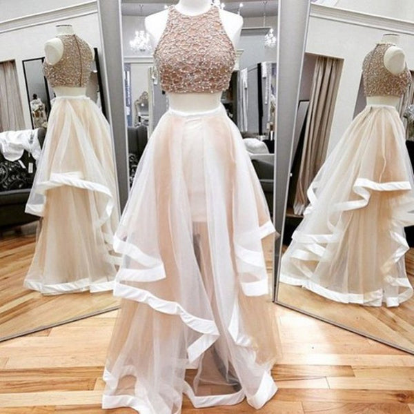 Two Pieces Beaded Top Popular Long Prom Dresses, PM0050