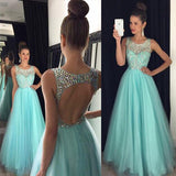 Blue Beaded Top Open Back Tulle Long Prom Dresses, PM0051