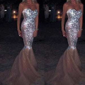 Sexy Mermaid Sweet Heart Sparkly Long Prom Dresses, PM0052