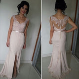 Side Slit Lace Top See Through Back Cheap Long Prom Dresses, PM0053